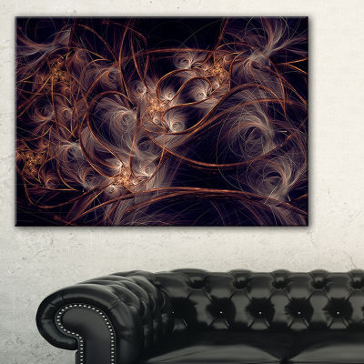 Designart Dark Golden Digital Art Fractal FlowerFloral Canvas Art Print