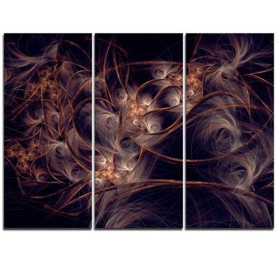 Designart Dark Golden Digital Art Fractal FlowerFloral Triptych Canvas Art Print