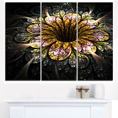 Designart Dark Golden Fractal Flower Digital Art Floral Triptych Canvas Art Print