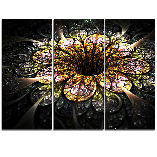 Designart Dark Golden Fractal Flower Digital Art Floral Triptych Canvas Art Print