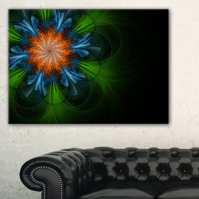 Designart Dark Green Fractal Flower In Black Floral Canvas Art Print