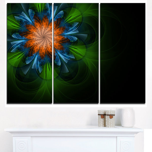 Designart Dark Green Fractal Flower In Black Floral Triptych Canvas Art Print