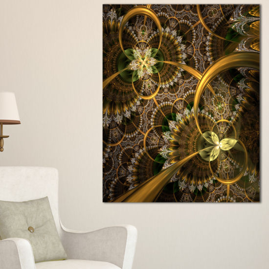 Designart Dark Green Gold Digital Art Fractal Flower Floral Canvas Art Print