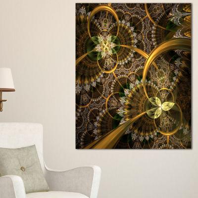 Designart Dark Green Gold Digital Art Fractal Flower Floral Canvas Art Print