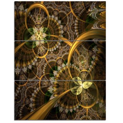 Designart Dark Green Gold Digital Art Fractal Flower Floral Triptych Canvas Art Print
