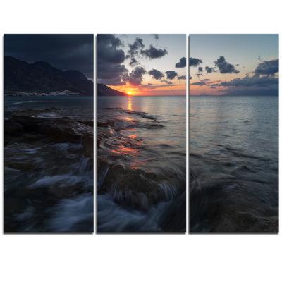 Designart Dark Mediterranean Beach Dawn Modern Seashore Triptych Canvas Art