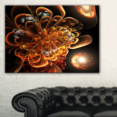 Designart Dark Orange Fractal Flower Digital Art Floral Canvas Art Print