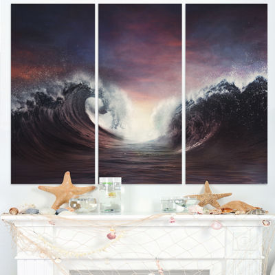 Designart Dark Parting Ocean With Colorful CloudsSeascape Triptych Canvas Art Print