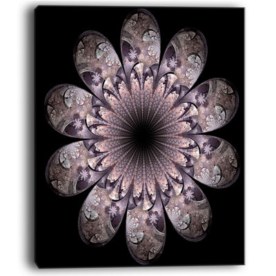 Designart Dark Pink Digital Art Fractal Flower Floral Canvas Art Print