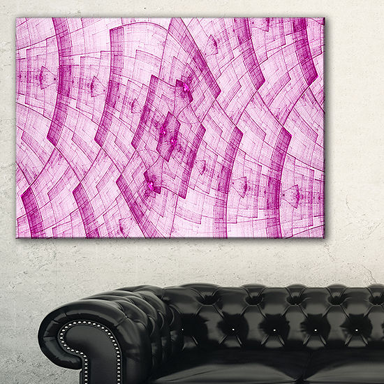 Designart Dark Pink Psychedelic Fractal Metal GridAbstract Wall Art Canvas