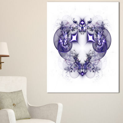 Designart Dark Purple Fractal Flower Design LargeAbstract Canvas Artwork