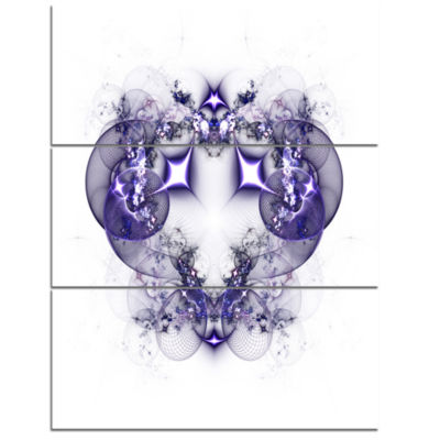 Designart Dark Purple Fractal Flower Design LargeAbstract Triptych Canvas Artwork