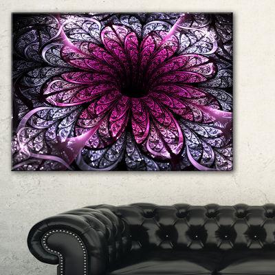 Designart Dark Purple Fractal Flower Digital Art Floral Canvas Art Print
