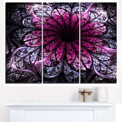 Designart Dark Purple Fractal Flower Digital Art Floral Triptych Canvas Art Print