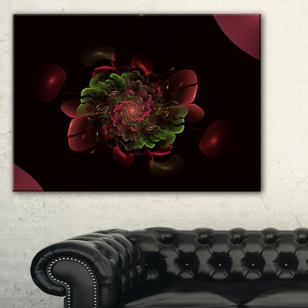 Designart Dark Purple Rounded Fractal Flower Floral Canvas Art Print