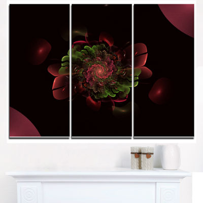 Designart Dark Purple Rounded Fractal Flower Floral Triptych Canvas Art Print
