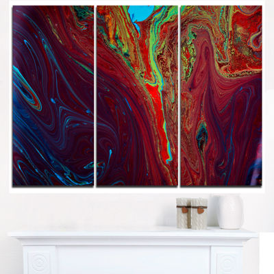 Designart Dark Red Abstract Acrylic Paint Mix Abstract Art On Triptych Canvas