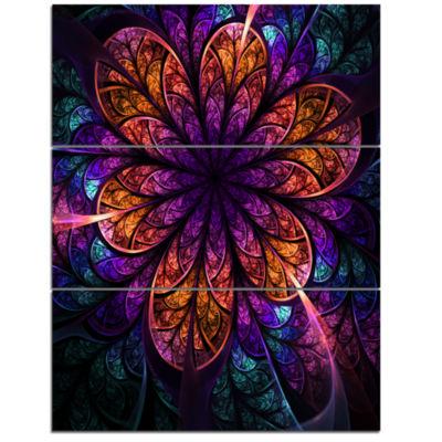 Designart Dark Red And Purple Fractal Flower Floral Triptych Canvas Art Print
