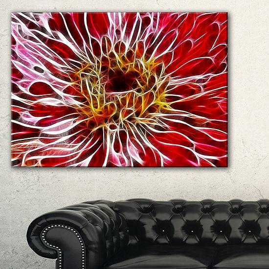 Designart Dark Red Digital Art Fractal Flower Floral Canvas Art Print