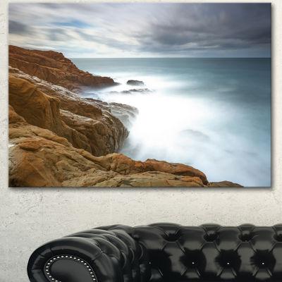 Designart Dark Red Rocks And Foam Waves Seascape Canvas Art Print