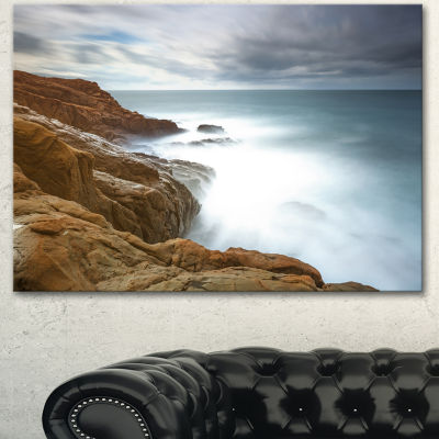 Designart Dark Red Rocks And Foam Waves Seascape Canvas Art Print - 3 Panels