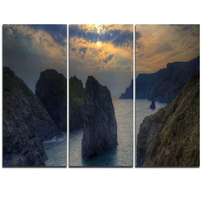 Designart Dark Rocky Panorama Coastline Extra Large Seashore Triptych Canvas Art