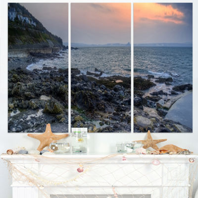 Designart Dark Rocky Seashore Sunrise Extra LargeSeashore Triptych Canvas Art