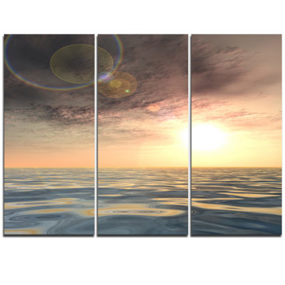 Designart Dark Sky With Clouds At Sunset Beach Photo Triptych Canvas Print