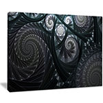 Designart Dark Spiral Fractal Flower Digital Art Floral Canvas Art Print