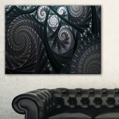 Design Art Dark Spiral Fractal Flower Digital ArtFloral Canvas Art Print
