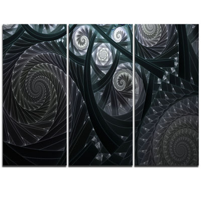 Designart Dark Spiral Fractal Flower Digital Art Floral Triptych Canvas Art Print
