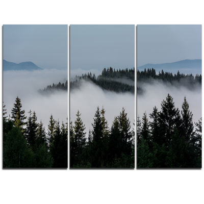 Designart Dark Trees And Fog Over Mountains Landscape Triptych Canvas Art Print