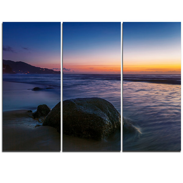 Design Art Dark Tropical Seashore In Evening ExtraLarge Seascape Art Triptych Canvas