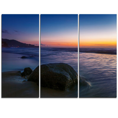 Designart Dark Tropical Seashore In Evening ExtraLarge Seascape Art Triptych Canvas