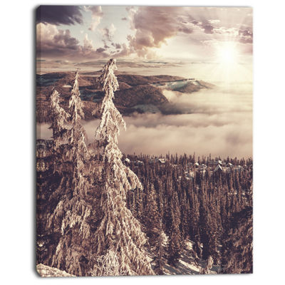 Designart Dark Winter Scene At Sunset Landscape Wall Art On Canvas