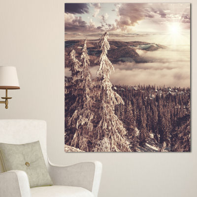 Designart Dark Winter Scene At Sunset Landscape Wall Art On Canvas - 3 Panels