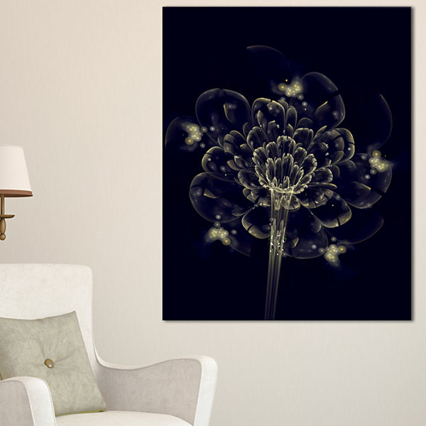 Designart Dark Yellow Digital Art Fractal FlowerFloral Canvas Art Print