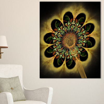 Designart Dark Yellow Flower Rounded Petals FloralCanvas Art Print