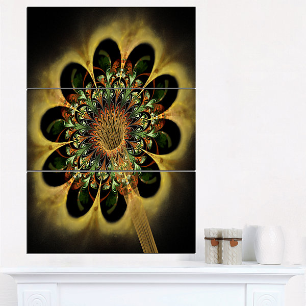 Design Art Dark Yellow Flower Rounded Petals FloralTriptych Canvas Art Print