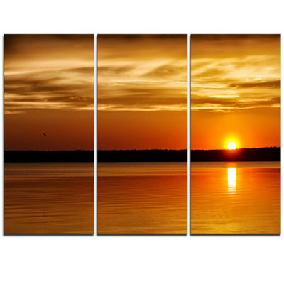 Designart Day And Night Seascape Panorama Modern Seashore Triptych Canvas Art