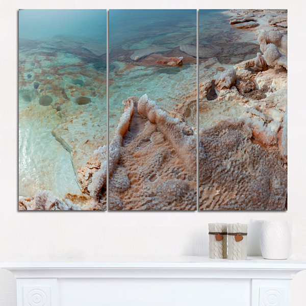 Designart Dead Sea Shore With Crystallized Salt Landscape Triptych Canvas Art Print