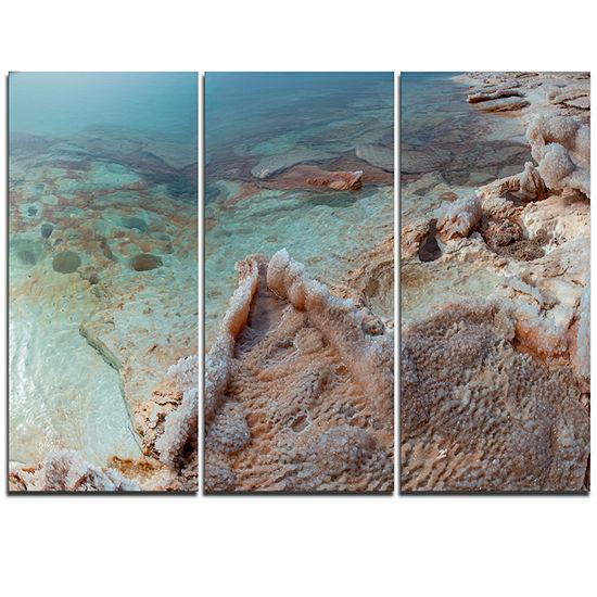 Designart Dead Sea Shore With Crystallized Salt Landscape Triptych Canvas Art Print