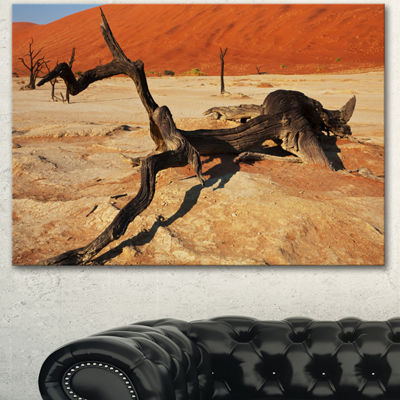 Designart Decayed Tree In Dead Valley African Landscape Canvas Art Print - 3 Panels