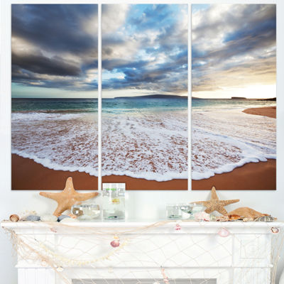 Designart Deep Seashore With Clouds And Waves Seascape Triptych Canvas Art Print