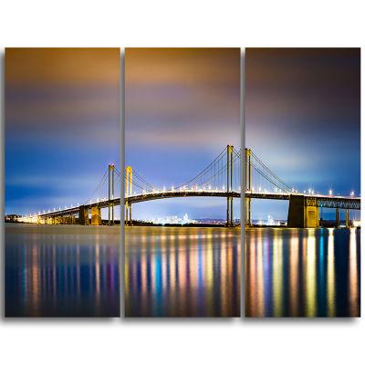 Designart Delaware Memorial Bridge Panorama Landscape Triptych Canvas Art Print