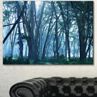 Designart Dense Rain Forest On Foggy Day OversizedLandscape Canvas Art - 3 Panels