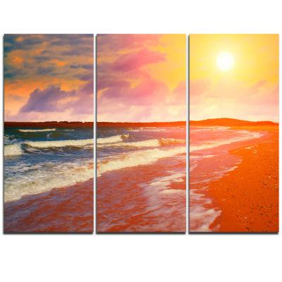 Designart Desert Beach At Sunset Modern Beach Triptych Canvas Art Print