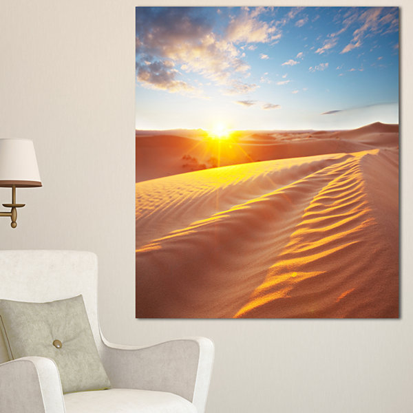 Designart Desert Dunes Reflecting Sunset OversizedLandscape Canvas Art - 3 Panels