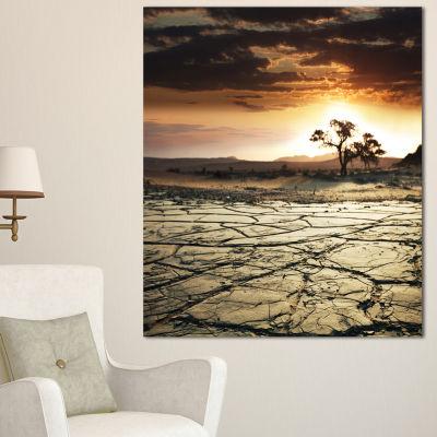 Designart Desert Gopi Cracked Drought Land AfricanLandscape Canvas Art Print