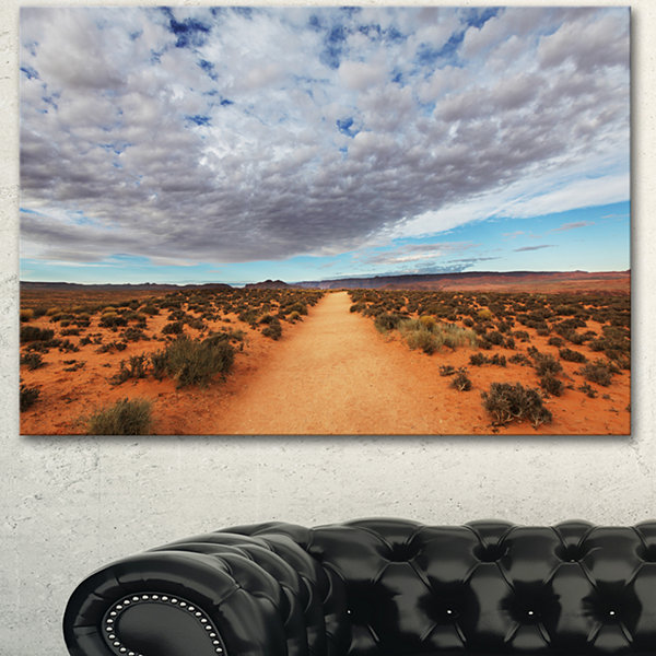 Designart Desert Road Under Bright Cloudy Sky African Landscape Canvas Art Print - 3 Panels